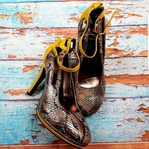 Mark. Snake print and mustard heels NWOB SZ 7